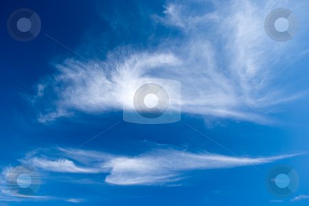 The blue sky and beautiful white clouds. stock photo,  by Aleksandr Davydov