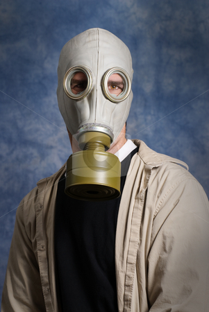 Gas Mask Portrait stock photo, Concept image of a future portrait symbolizing that we will all need to wear breathing protection in everyday life by Richard Nelson