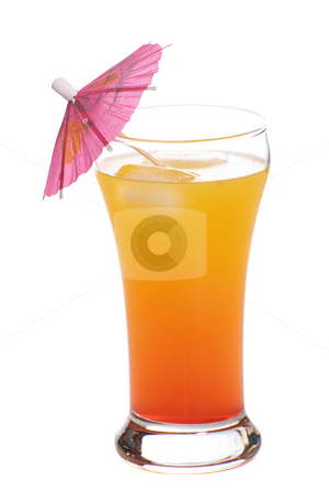 Tequila Sunrise stock photo, A popular alcoholic beverage called a Tequila Sunrise, shot with an umbrella in it, isolated against a white background by Richard Nelson