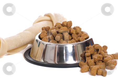 Pet Food stock photo, A dog bone and a bowl of dry food in a metal bowl, isolated against a white background by Richard Nelson