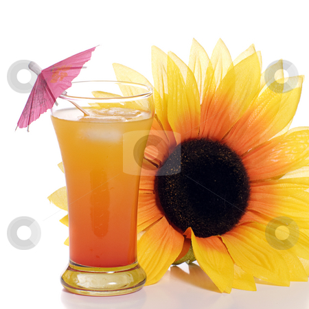 Alcoholic Beverage stock photo, A tequila sunrise drink with an artificial sunflower beside it, shot on a white background by Richard Nelson