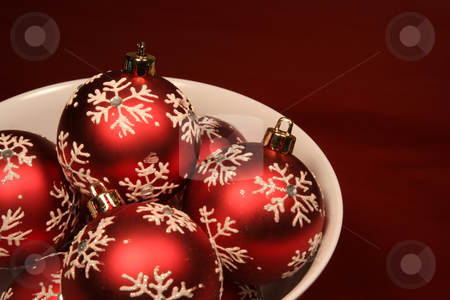 Bowl of Red Xmas Balls stock photo, A bunch of red xmas baubles sitting in a bowl. by Chris Hill