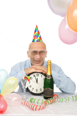 Man with clock stock photo, man in new year on white background by Jolanta Dabrowska