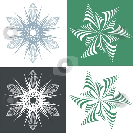 Green snowflake stock vector clipart, Seamless design of snowflakes by Čerešňák