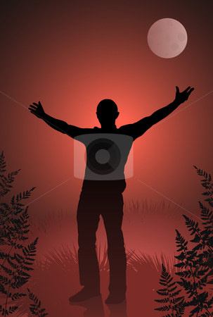 Male vampire with outstretched arms on bloody sky and moon background stock vector clipart, Male vampire with outstretched arms on bloody sky and moon background Original vector illustration by L Belomlinsky