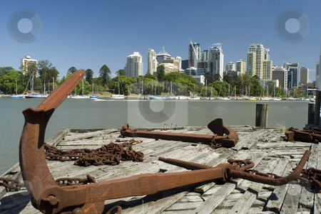 Brisbane River stock photo, A view across the Brisbane river from the historic Kangaroo point area towards brisbane CBD by Stephen Gibson
