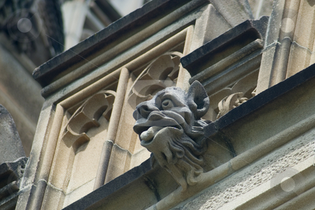 Gothic Chimera stock photo, Grotesque stone sculpture on the side of a gothic revival building by Stephen Gibson