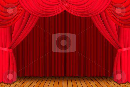 Stage with closed red curtain stock vector clipart, Stage with a closed red theatre curtain for a show by Laurent Renault