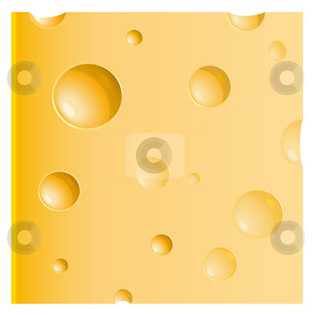 Piece of cheese  stock vector clipart, Piece of cheese over white by Laurent Renault