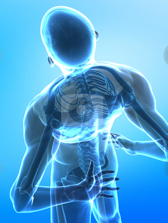 Spine pain stock photo, Pain in the spine - x-ray top view on blue by Peter Lecko
