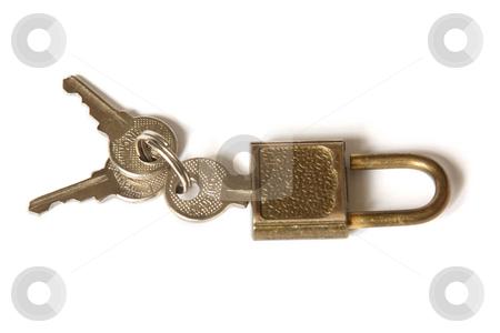 Padlock and the bunch of keys stock photo, Padlock and the bunch of keys. Isolated on white by Olga Lipatova