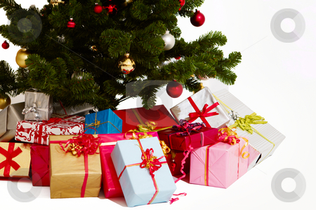 Christmas - Presents under a tree on white stock photo, Christmas - Presents under a tree on white background by Phillip Dyhr Hobbs