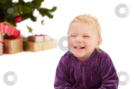 Christmas - Cute little girl smiling on white  stock photo, Christmas - Cute little girl smiling on white background by Phillip Dyhr Hobbs