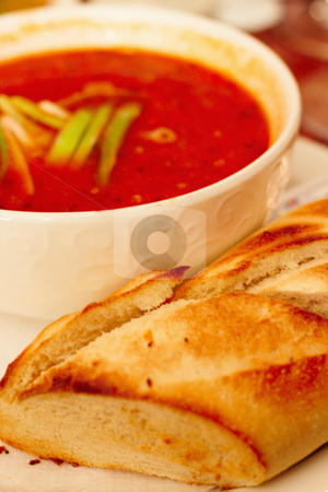Food - Hearty red spicy italian tomato soup  stock photo, Food - Hearty red spicy italian tomato soup and bread by Phillip Dyhr Hobbs
