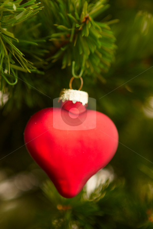 Closeup of a red heart decoration stock photo, Closeup of a red heart decoration - christmas by Phillip Dyhr Hobbs