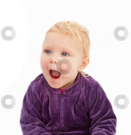 Surprise - Cute little girl looking shocked stock photo, Surprise - Cute little girl looking shocked on white by Phillip Dyhr Hobbs