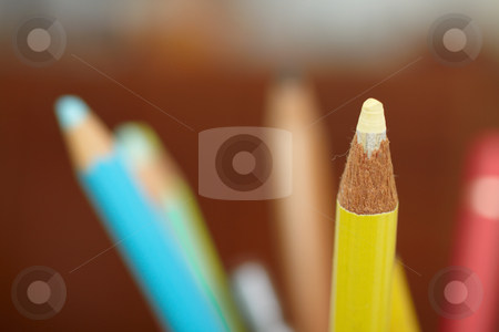 Education - sharpened colourful pencil with copy space stock photo, Education - sharpened colourful pencil with copyspace by Phillip Dyhr Hobbs