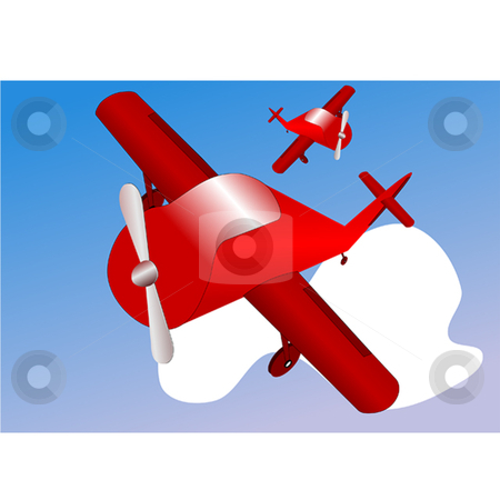 Avion stock vector clipart, Abstract airplanes in blue sky with cloud by Ira J Lyles Jr