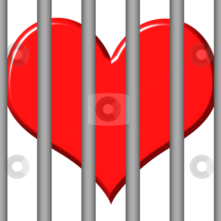 Jailed Heart  stock photo, 3d jailed heart isolated in white by Georgios Kollidas