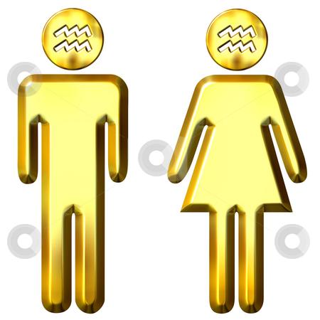 3d golden Aquarius man and woman  stock photo, 3d golden Aquarius man and woman isolated in white by Georgios Kollidas