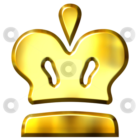 3D Golden Crown stock photo, 3d golden crown isolated in white by Georgios Kollidas