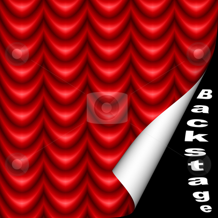 Backstage stock photo, Opening leading behind the red curtain by Georgios Kollidas