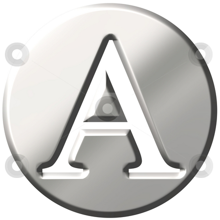 3D Steel Letter A stock photo, 3d steel letter A isolated in white by Georgios Kollidas