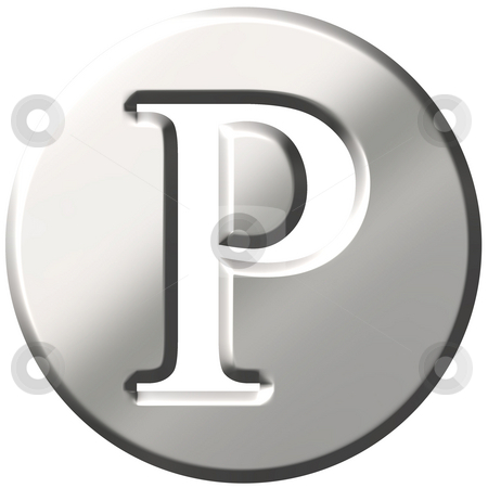 3D Steel Letter P stock photo, 3d steel letter P isolated in white by Georgios Kollidas