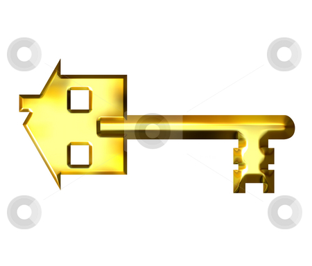 3D Golden House Key stock photo, 3d golden house key isolated in white by Georgios Kollidas