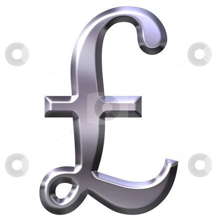 3d Silver British Pound Symbol Stock Photo