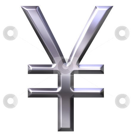 3D Silver Yen Symbol stock photo, 3d silver yen symbol isolated in white by Georgios Kollidas