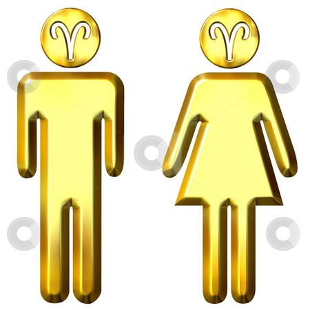 3d golden Aries man and woman stock photo, 3d golden Aries man and woman isolated in white by Georgios Kollidas