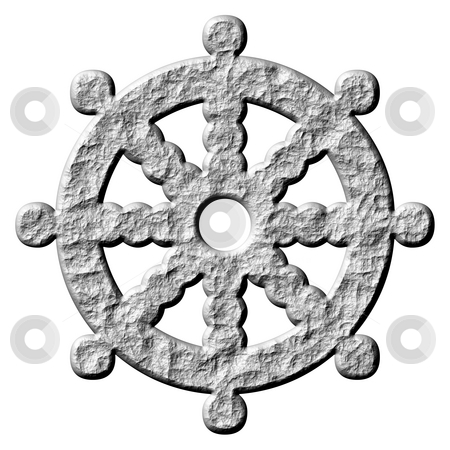 3D Stone Buddhism Symbol Wheel of Dharma stock photo, 3d stone buddhism symbol wheel of dharma isolated in white by Georgios Kollidas
