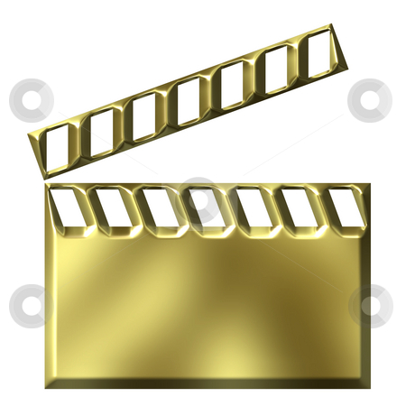 3D Golden Film Clap Board stock photo, 3d golden film clap board isolated in white by Georgios Kollidas