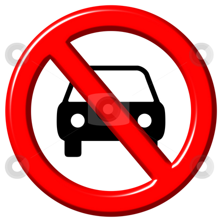 No cars allowed 3d sign stock photo, No cars allowed 3d sign isolated in white by Georgios Kollidas