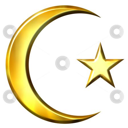 3D Golden Islamic Symbol stock photo, 3d golden islamic symbol isolated in white by Georgios Kollidas