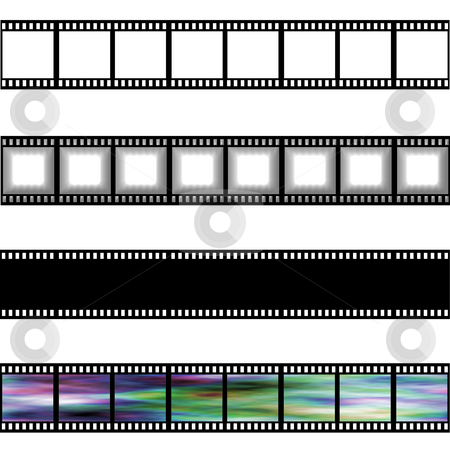 Film Strips stock photo, Film strips isolated in white by Georgios Kollidas