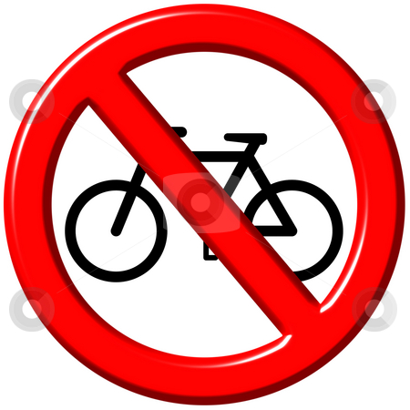 No bicycles 3d sign stock photo, No bicycles 3d sign isolated in white by Georgios Kollidas