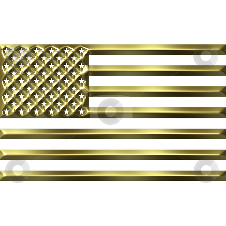 3D Golden USA Flag stock photo, 3d golden USA flag isolated in white by Georgios Kollidas