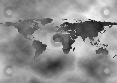 Surreal map showing pollution over earth stock photo, Surreal map showing pollution over earth by Georgios Kollidas