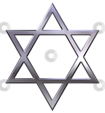Silver Star of David stock photo, Silver star of david isolated in white by Georgios Kollidas