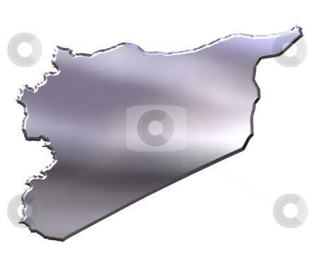 Syria 3D Silver Map stock photo, Syria 3d silver map isolated in white by Georgios Kollidas