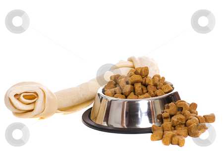 Dog Food stock photo, A metal bowl filled with dry dog food along with a large rawhide bone, isolated against a white background by Richard Nelson