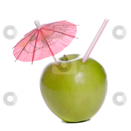 Fresh Apple Juice stock photo, Concept image of fresh apple juice featuring an apple with a straw and an umbrella in it by Richard Nelson