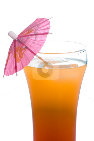 Tequila Sunrise stock photo, Closeup view of a tequila sunrise beverage shot with an umbrella in it, isolated against a white background by Richard Nelson