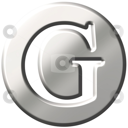3D Steel Letter G stock photo, 3d steel letter G isolated in white by Georgios Kollidas