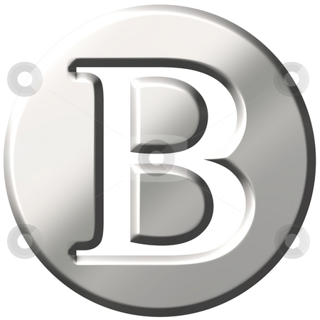 3D Steel Letter B stock photo, 3d steel letter B isolated in white by Georgios Kollidas