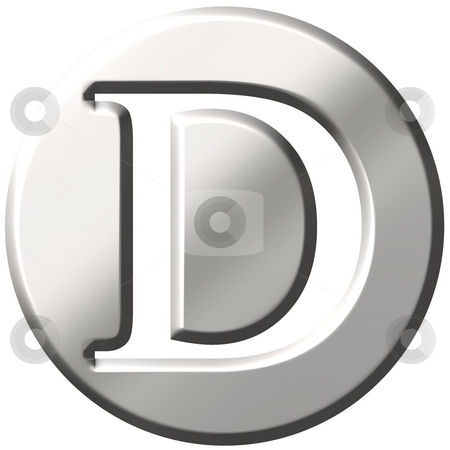 3D Steel Letter D stock photo, 3d steel letter D isolated in white by Georgios Kollidas