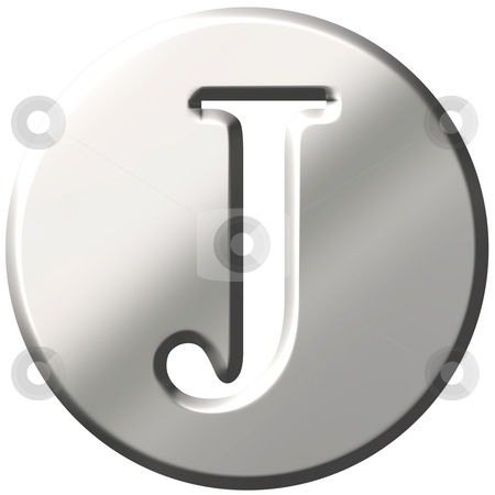 3D Steel Letter J stock photo, 3d steel letter J isolated in white by Georgios Kollidas