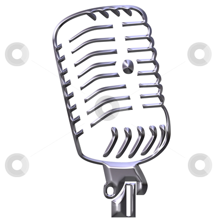 Silver Microphone stock photo, Silver microphone isolated in white by Georgios Kollidas